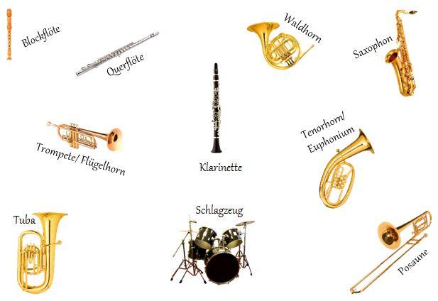 Übersicht der Musik-Instrumente