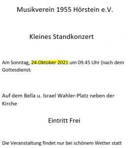 Kleines Standkonzert @ Neben der Kirche Hörstein (Bella u. Israel Wahler-Platz)